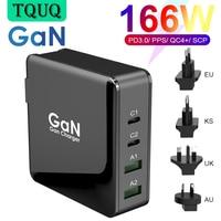 166W cargador de pared GaN Tech 100W USB-C PD3.0 PPS y 18W USB-A QC4.0 + carga rápida para MacBook Lenovo Samsung S20 Nota 10 + teléfono