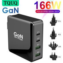 166W Wall Charger GaN Tech 100W USB-C PD3.0 PPS and 18W USB-A QC4.0+ Fast Charging For MacBook Lenovo Samsung S20 Note 10+ Phone