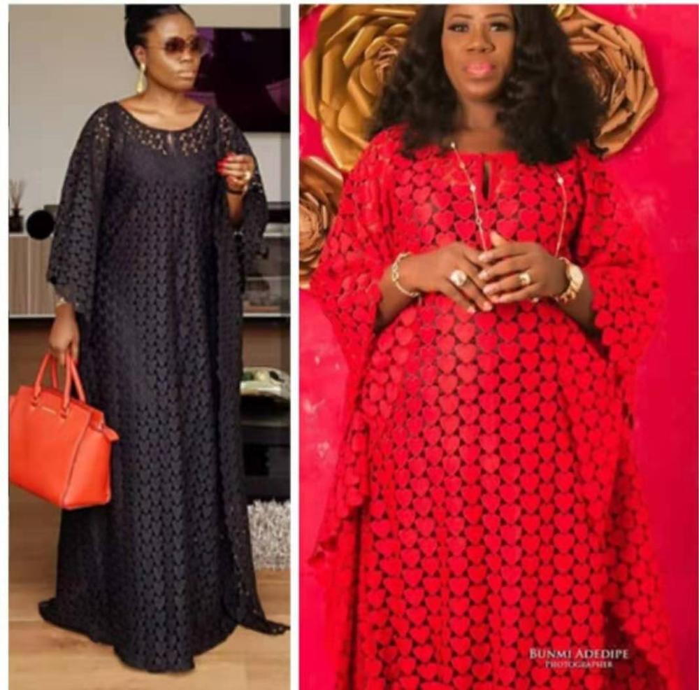 Super Size Bust 140 Cm New Style African Women's Dashiki Water-soluble Lace Loose Long Dress + Inside The Skirt Two  Piece
