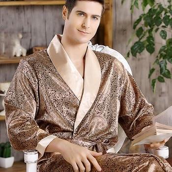 Hommes maison vêtements chemise de nuit été Satin Kimono Robe décontracté vêtements de nuit grande taille 3XL 4XL 5XL imprimer or maison Robe de chambre 1