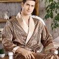 Для мужчин халат ночная рубашка Атласный халат кимоно платье Повседневное пижамы размера плюс с принтом золотистого домашний халат 3XL 4XL 5XL