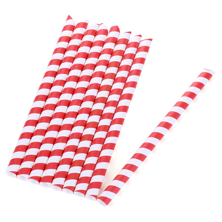 2019 Amazon Hot Sales Acic Qian Stripes Paper Straw Disposable Kraftpaper Straw Biodegradable 25 Pack