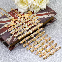 New Style Europe Women Breastplate Body Jewelry Wedding Dress Accessories Russia Traditional Retro Chest Chain Long Choker Gift