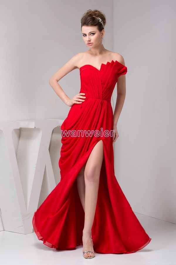 Free Shipping 2016 Arrival Hot Sale Fashion Design Pleat Open Leg Real Custom Size/color Long Red Chiffon Sexy Bridesmaid Dress