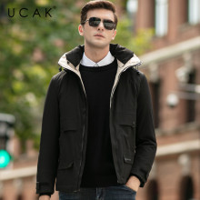UCAK Brand Grey Goose Down Jackets Male Fashion Stylish Pockets Hooded Modern Casual 2019 Winter Men Warm Clothing Jacket U8027