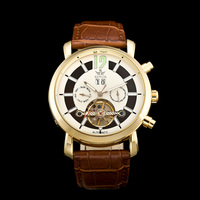 SEWOR Nice Gold Tone Mens Tourbillon Automatic Mechanical Watch Luxury Multi function Watch Allochroic Glass Leather Watch Band