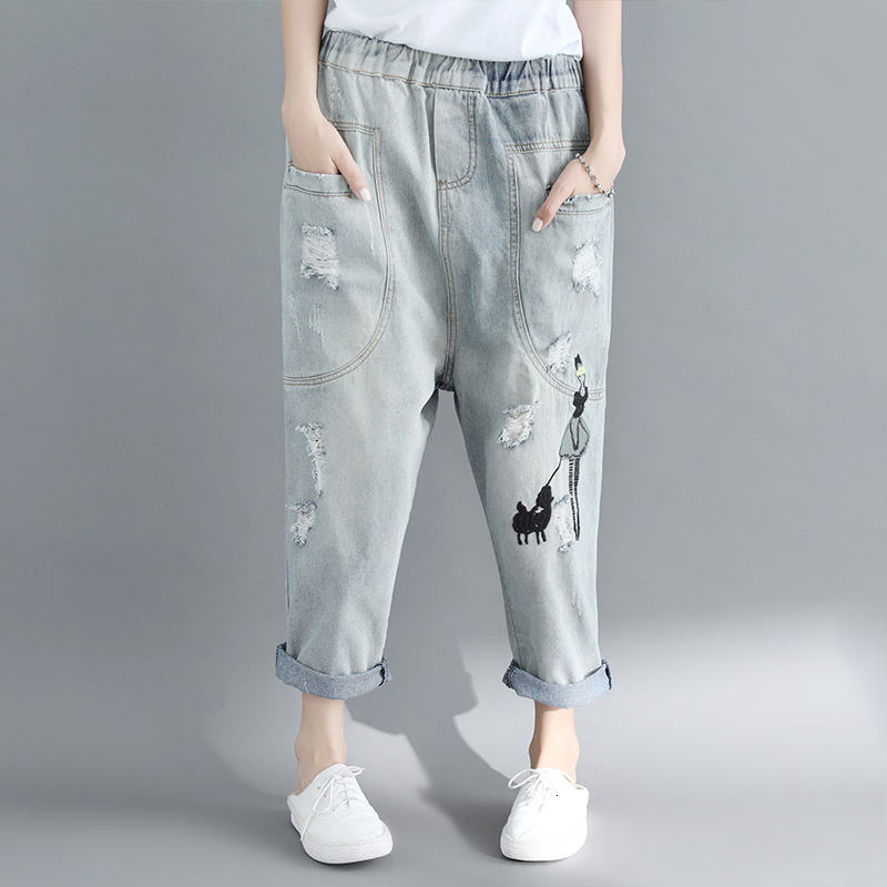 [LANMREM] 2019 Summer New Pattern Casual Style Solid Color Ripped Hole Embroidery Mid Waist Loose Harem Ankle-length Pants AF914