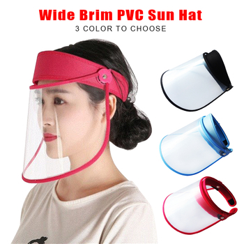Summer Outdoor Sun Hat Men Women Saliva-proof Visor Caps Dustproof Empty Top PVC Face Shield Wide Brim Sports Sunhat Face Guard
