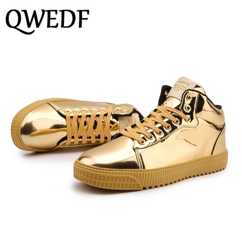 QWEDF2019 femmes chaussures vulcanisées baskets dames à lacets décontracté Basket chaussures marche Bling miroir en cuir plat argent chaussure SE-92 - 3