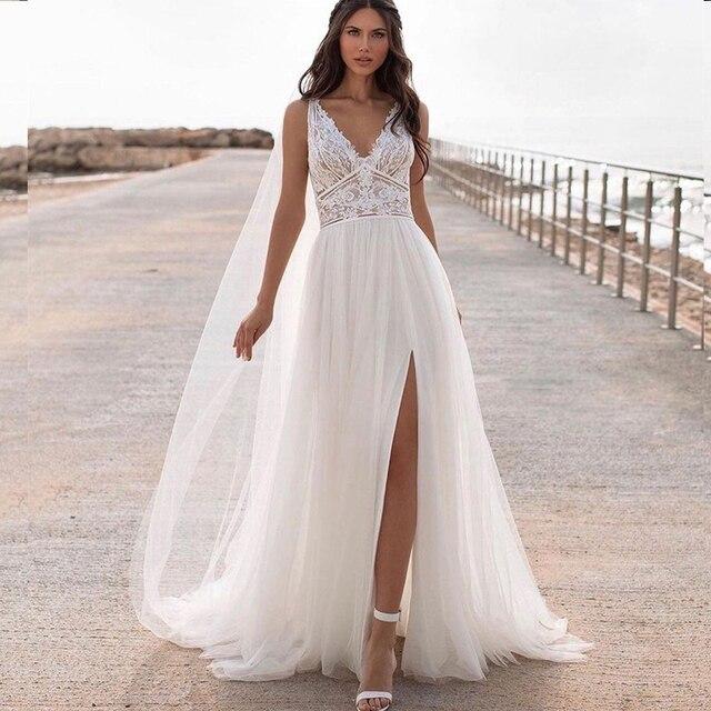 Bohemian Wedding Dress Lace 2021 Split Tank Organza Sleeveless A-Line Vintage Civil Bridal Gown Boho Charming Robe Unique Design 1