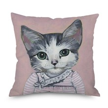 Hot 45x45cm Cute Cat Art Linen Cushion Covers Home Animal Decoration Pillow Case Sofa Pillowcase Classic