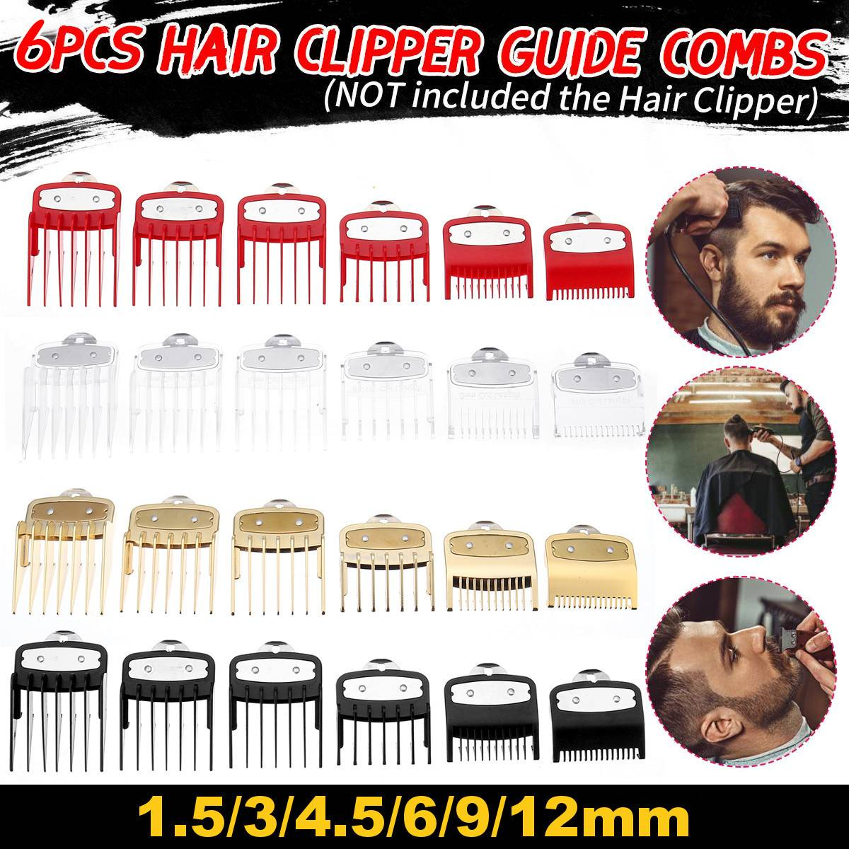 6Pcs/Set Colorful Guide Comb Multiple Sizes Metal Limited Combs Hair Clipper Cutting Tool High Quality And Brand New For WAHL