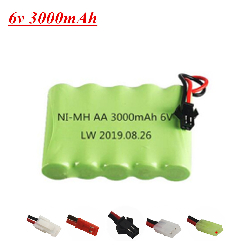 6v 3000mah ni-mh bateria para rc brinquedos elétricos caminhão de carro barco peças de reposição aa 6v bateria recarregável sm/jst/tamiya/EL-2P plug
