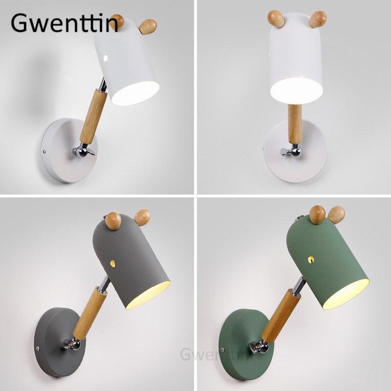 madeira nordic ferro cavalo lampadas de parede para o quarto das criancas lampada cabeceira moderna led