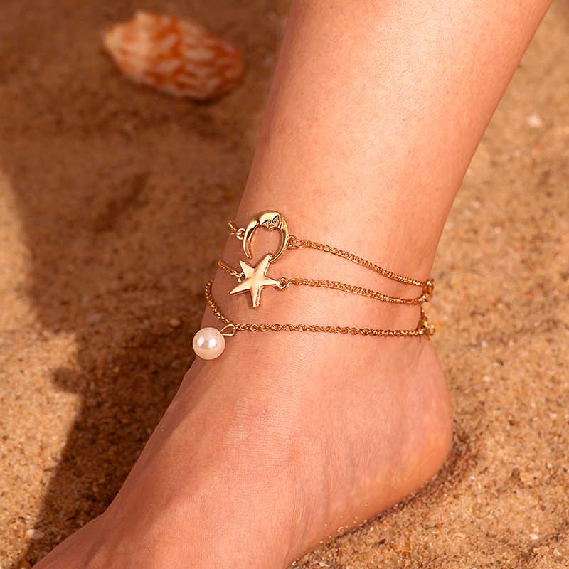 חדש קיץ חוף כוכב ירח פרל תליון רב שכבתי צמיד צמיד נשים רטרו אופנה זהב רגל יחפים שרשרת תכשיטי מכירה לוהטת