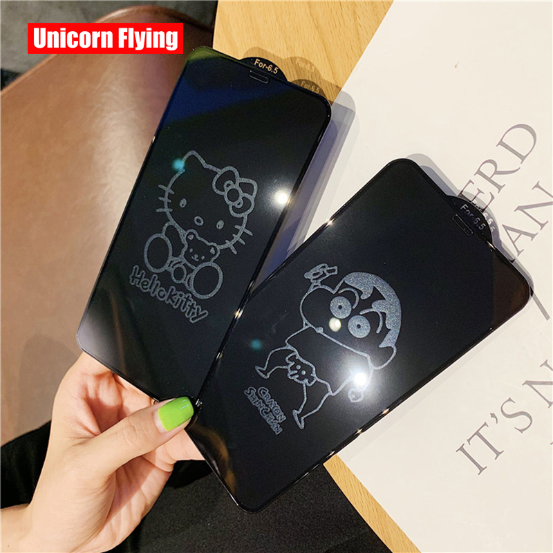 LinXiang Invisible Cartoon Hello-kitty Cat Crayon 6D Tempered Glass Screen Protector For IPhone 6 6s 7 8 Plus X XR XS Max 11 Pro