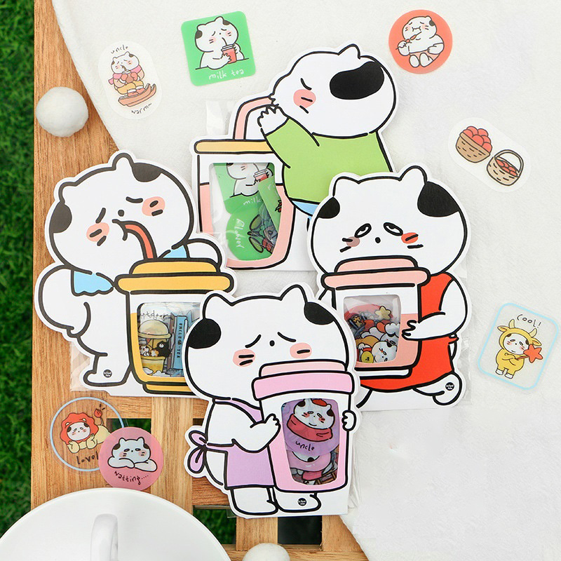 40pcs/Pack Kawaii Uncle Cat's Daily Life PVC Sticker Kids Gift Notebook Decorative Sticker Hand Account Decor