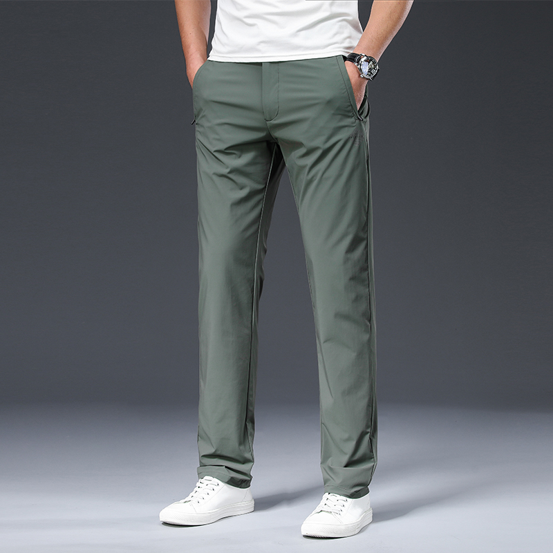 BROWON 2020 Male Trousers Summer New Nylon Solid Color Straight Mid Loose Full Length Smart Casual Pants Work Pants