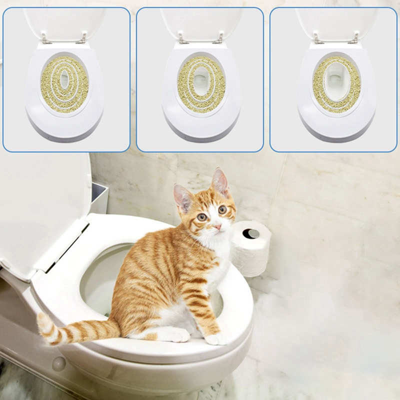 Cat Toilet Training Kit Seat Mat Pet Cat Litter Cleaning Trays Small Cat Potty Train System Training Toilet Tray Pet Supplies