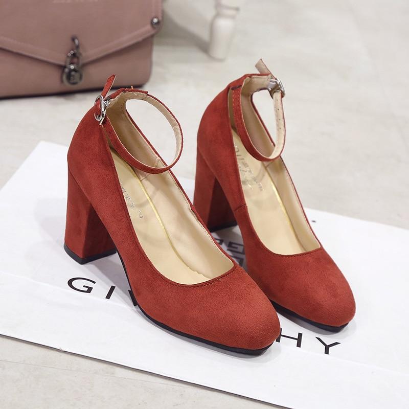 Mu Zi Yi Women's Fashion High Heel Shoes Suede Chunky-Heel Shoes Export WOMEN'S Shoes
