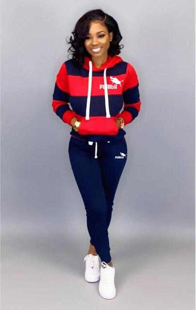 Winter Tracksuit Women 2 Piece Set Sweatshirt Print Hoodies+Pants Sportwear Women's Sports Suit Female Hooded Set Hoodies Suit 2