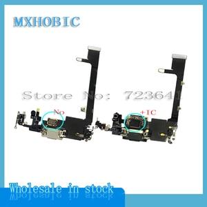 Image 2 - 2Pcs Opladen Flex Voor Iphone 11 Pro Max Usb Lader Poort Dock Connector Plug Met Mic Flex Kabel Lint vervanging