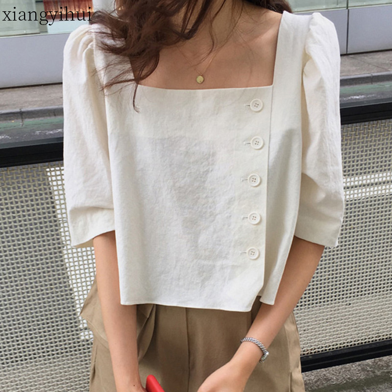 New Vintage Square Collar Shirt Women Loose Blouses Female Summer Puff Sleeve Blouse Casual Ladies Tops Black White Colors