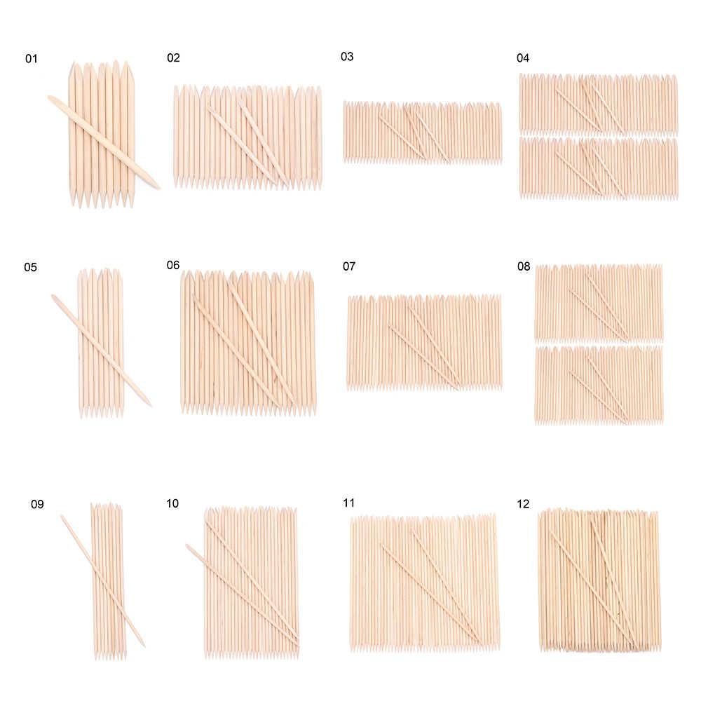10/30/50/100PC Dual-ended Orange Wood Stick Cuticle Exfoliërende Remover Nail Ontwerpen voor manicure Pedicure Pusher Nagels Gereedschap