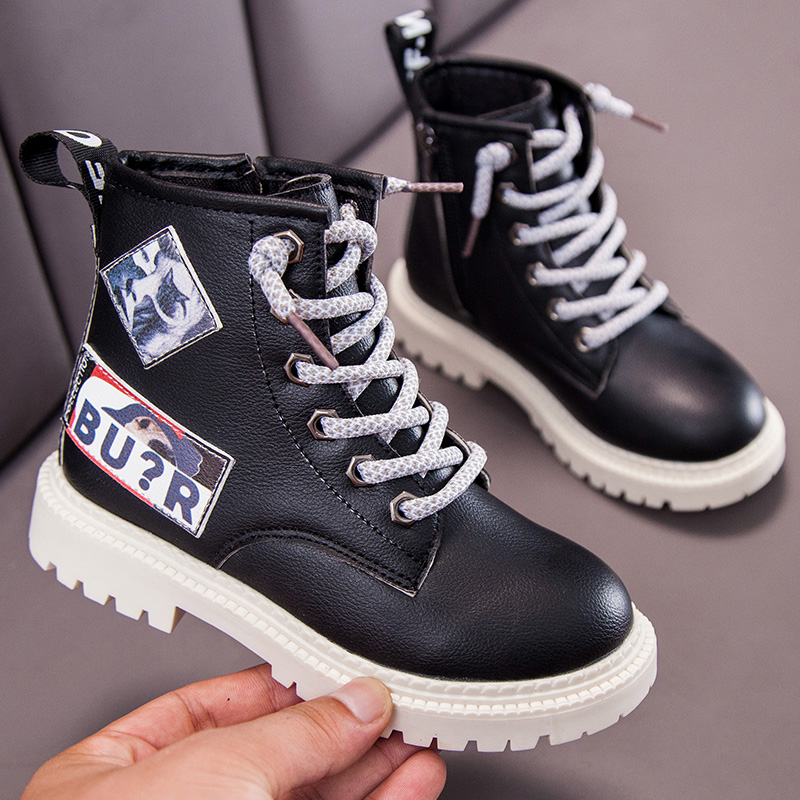 Kids Leather Boots Girls Martin Waterproof Fashion Boots Boys Children Casual Sneakers Spring Winter Shoes Toddler Fashion Flats