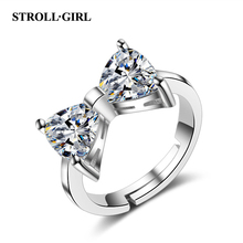 Strollgirl Hot sale 925 Sterling Silver Sparkling Bow Knot Stackable Ring Bezel Pave CZ for Women Valentines Day Gift Jewelry