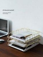 Ins Nordic Office Desktop Metal Rack Documents Magazine Storage Basket Books and Newspapers Storage Rack Home Decoration|Home Office Storage|   -