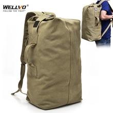 Erkek tuval sırt çantaları çok amaçlı kova dağcılık seyahat çantası büyük omuz çantaları erkekler ordu gezisi katlanabilir el çantası XA1934