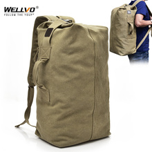 Mens Canvas Backpacks Multi purpose Bucket Mountaineering Travel Bag Large Shoulder Bags Men Army Trip Foldable Hand Bag XA1934