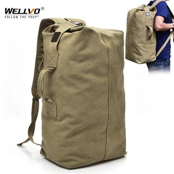 Men's Canvas Backpacks Multi-purpose Bucket Mountaineering Travel Bag Large Shoulder Bags Men Army Trip Foldable Hand Bag XA1934