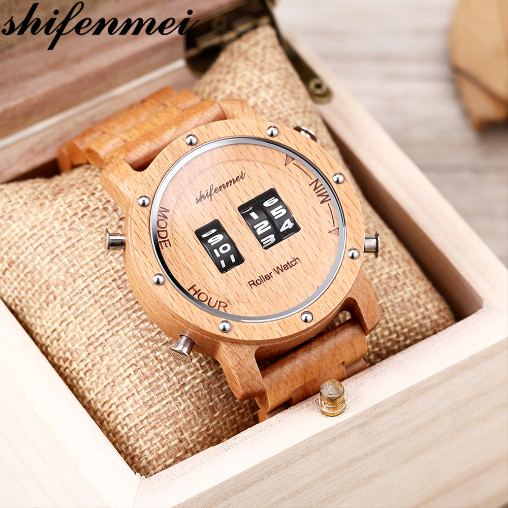 Shifenmei Wood Watches Men Digital Quartz Watch Roller Top Luxury Wooden Band Classic Wristwatch Clocks Male Relogio Masculino