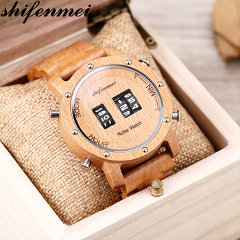Shifenmei Wood Watches Men Digital Quartz Watch Roller Top Luxury Wooden Band Classic Wristwatch Clocks Male relogio masculino top quality luxury men s natural wood watches black genuine leather band quartz watch male sports analog reloj de madera gift