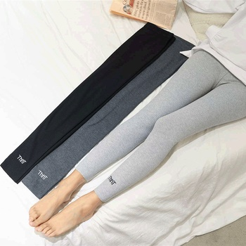 Pure cotton grey thread Leggings women wear spring and autumn winter thin show thin nine point large size autumn Pants Black image
