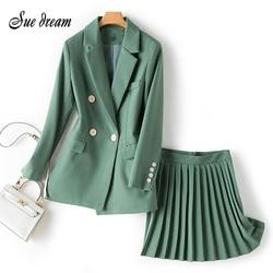 Женский блейзер с одной пуговицей, летняя плиссированная юбка с высокой талией, Модный комплект из 2 предметов, 2020