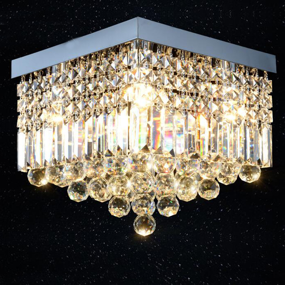 Brand New Hot Selling LED Crystal Ceiling Lamp Square Home Improvement Living Room Bedroom Crystal Lamps Manufacturers Direct Se