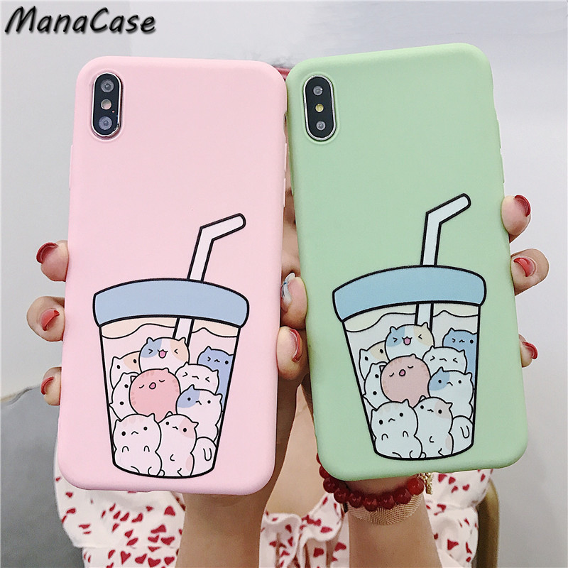 Cute <font><b>Korean</b></font> Soda Cat Solid Color Frosted Phone <font><b>Case</b></font> For <font><b>iPhone</b></font> X XS MAX <font><b>XR</b></font> 6 6s 7 8 Plus For TPU Soft Back Cover <font><b>Cases</b></font> image