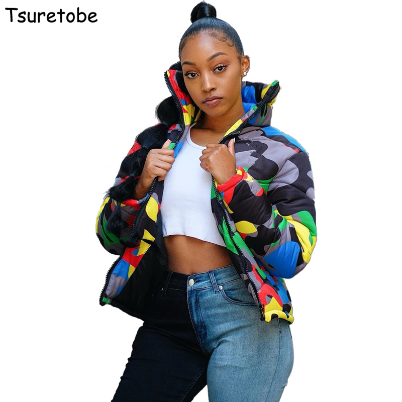 Tsuretobe Plus Size Camouflage Winter Jacket Women Warm Turtleneck Coats Casual Parkas Zip Up Down Jacket Long Sleeve Outwear