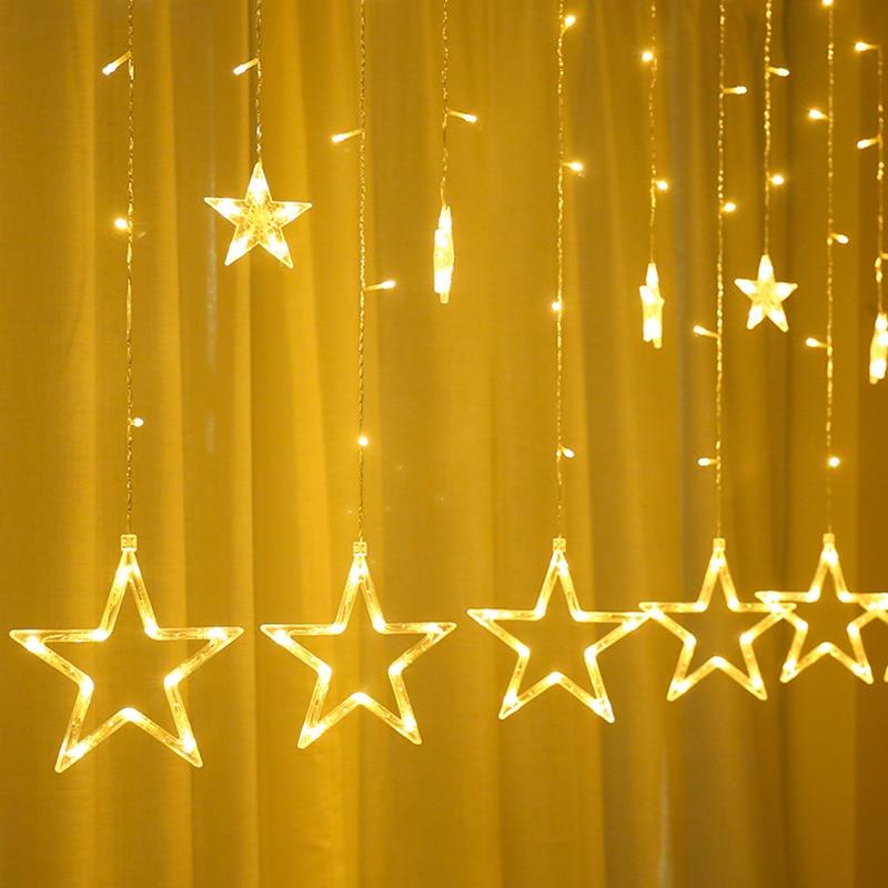 LED Garland Star String Lights Christmas Lights Outdoor 8 Flashing Modes Stars Curtain Fairy Lights Wedding Xmas Home Decoration