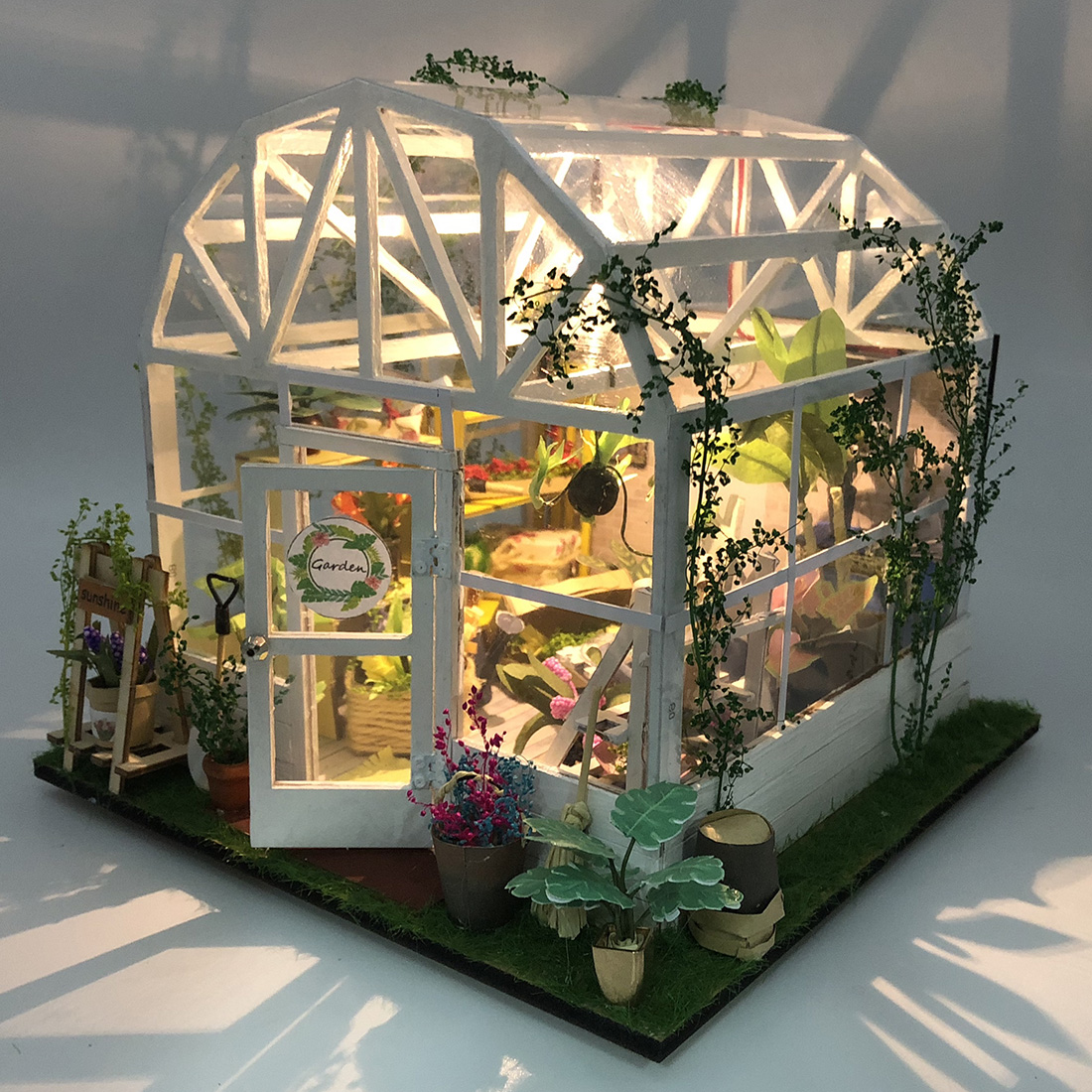 Free Shipping DIY Creative Handmade Theme Wooden Cabin Assembly Building Model Toy Set With Light - Romantic Flower House
