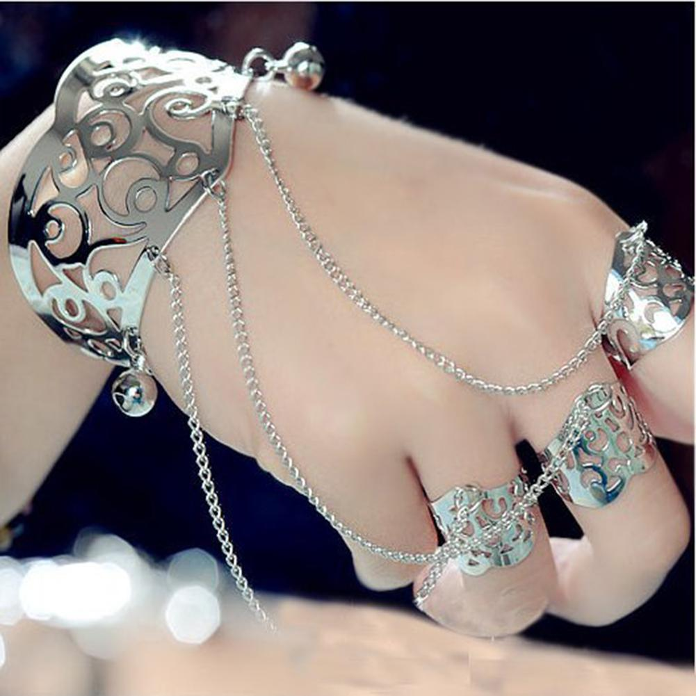 Retro <font><b>rings</b></font> for women bangles for women Hollow Flower Wide Open Cuff Bell <font><b>Bracelet</b></font> Bangle 3-Finger <font><b>Ring</b></font> Jewelry image