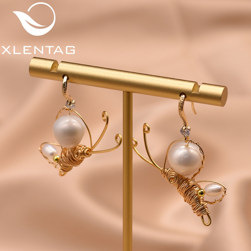 XlentAg Handmade Butterfuly Earrings Natural Fresh Water Pearl Earrings For Women Birthday Gift For Party Fine Jewellery GE0804