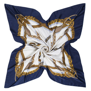Image 2 - 新しいベルトチェーン 130 センチメートル正方形スカーフ高級ブランドのスカーフ女性ツイルシルクスカーフ女性のハンカチショールecharpe tuaban