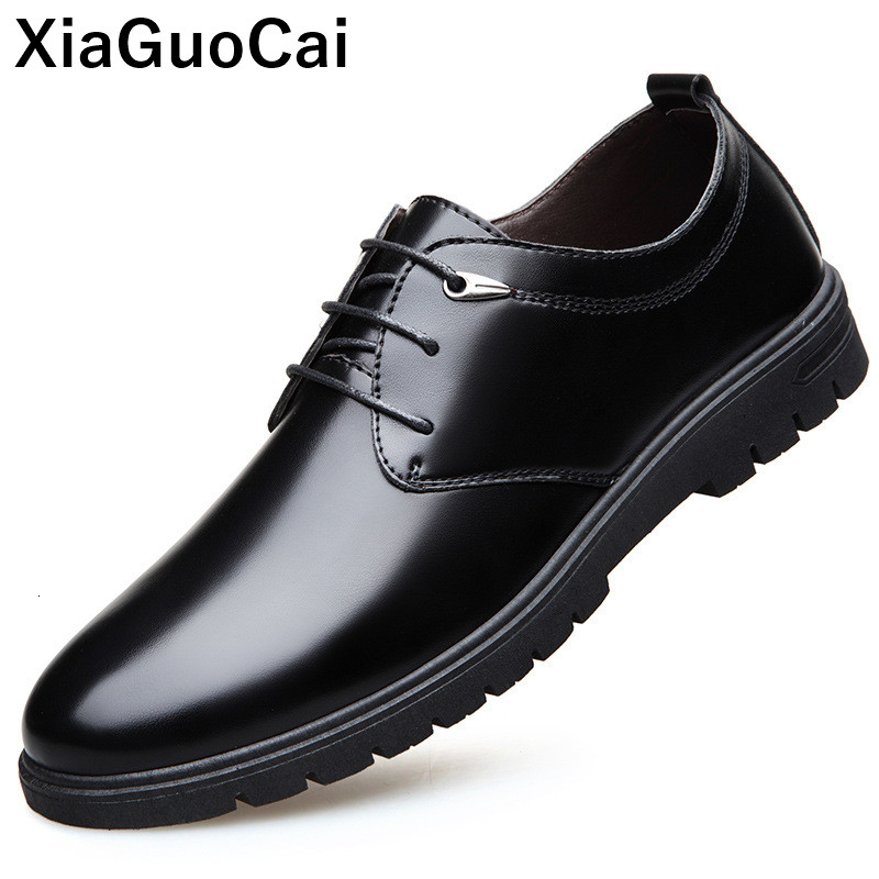 British Men Dress Shoes Spring Autumn Male Leather Flats Business Casual Mans Footwear Round Toe Lace Up Derby Shoes With Fur