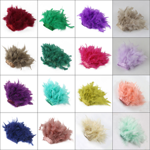 1Meter DIY Turkey feather ribbon Natural Dyed feathers Trim Height 15-18CM Wedding Dress Decoration Clothing Crafts(China)