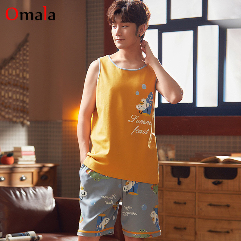 2020 Summer Thin Cotton Vest And Shorts Suit Korean Men's Pajamas Set Youngs Homewear Suit Sleeveless Tops Sleepwear Men Outwear