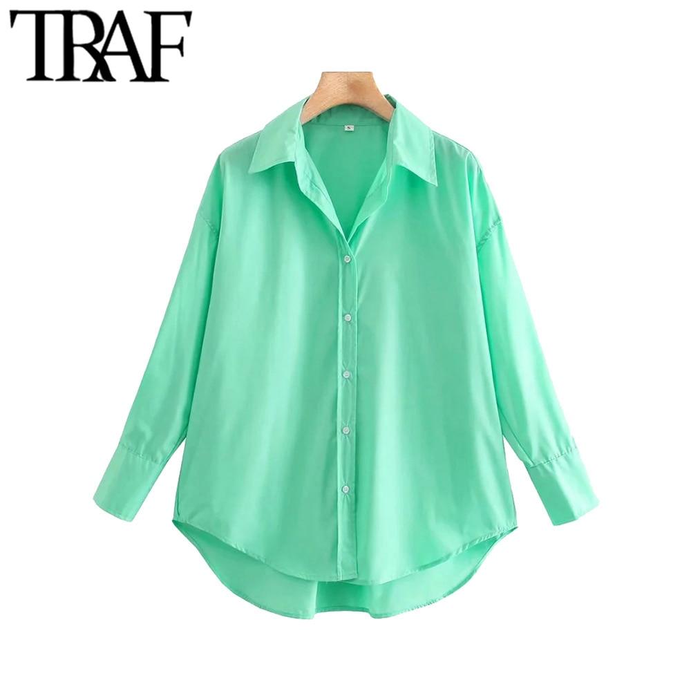 TRAF Women Fashion Loose Asymmetry Poplin Blouses Vintage Long Sleeve Button-up Female Shirts Blusas Chic Tops 5